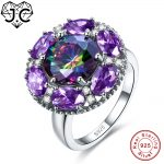 J.C High Quantity Ruby Spinel & Amethyst Rainbow Blue White Topaz Real 925 Sterling <b>Silver</b> Ring Size 6 7 8 9 Female Fine <b>Jewelry</b>