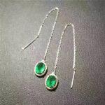 natural green emerald drop <b>earrings</b> 925 <b>silver</b> Natural gemstone <b>earring</b> women elegant classic drop <b>earrings</b> for anniversary