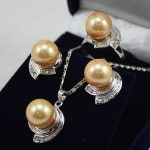 Women's Wedding Wedding <b>Jewelry</b> 10mm &14mm Coffee Necklace Earrings Ring Set>AAA GP Bridal wide wat moda real silver