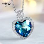 Cdyle Crystals From Swarovski Fashion Blue Light <b>Jewelry</b> Chic Pendants Women <b>Necklaces</b> Purple Blue Heart Shaped Rhinestone New