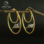 Lotus Fun Real 925 Sterling <b>Silver</b> Natural Original Handmade Fine Jewelry Vintage Butterfly Hoop <b>Earrings</b> for Women Brincos