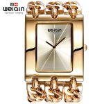 WEIQIN Women Gold <b>Silver</b> Square Dial Bangle Watch Quartz Ladies Chain <b>Bracelet</b> Watches Female Wristwatch relogio feminino