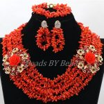 Charming African Women Wedding Beads Party Gift Natural Orange Coral Beads <b>Necklace</b> New Lace Jewlery Sets Free Shipping ABK923