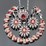 Silver 925 Red Stones White CZ Costume Women <b>Jewelry</b> Sets Earrings/Pendant/<b>Necklace</b>/Rings/Bracelets For Wedding Set Free Box