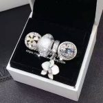 4pcs Fashion S925 Silver Whit Enamel Magnolia Cz Dangle Charms Bead <b>Jewelry</b> Set Fit Bracelet Necklaces <b>Jewelry</b> <b>Making</b> Woman Gift