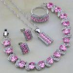 925 <b>Silver</b> Jewelry Sets Pink Cubic Zirconia White CZ Wedding Jewelry Sets For Women Stud Earring/Pendant/Necklace/<b>Bracelet</b>/Ring