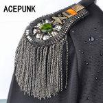 Handmade Vintage <b>Jewelry</b> Metal Tassel Big Shoulder Brooch Epaulet Epaulettes Spikes Escapulario Blazer <b>Accessories</b> With Pin
