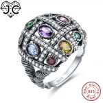 J.C Colorful Cute Amethyst Emerald Citrine Blue Topaz 925 Sterling <b>Silver</b> Ring Size 6 7 8 9 Dazzling Women Wedding Fine <b>Jewelry</b>