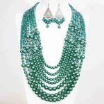 Hot sale malachite green round shell simulated-pearl abacus crystal 7rows <b>necklace</b> earrings for women vintage jewelry set B1303