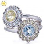 HUTANG Natural Aquamarine & Lemon Quartz Gemstone Solid 925 Sterling <b>Silver</b> Flower Ring Fine <b>Jewelry</b> Fashion Style