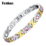 Hottime Crystal Gem Woman Bracelet Stainless Steel Health Energy Magnetic Gold <b>Fashion</b> <b>Jewelry</b> Lady Bracelets Gift for Girls