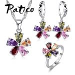PATICO Top Quality <b>Jewelry</b> Set Shining Colorful Cubic Zircon Crystal Flower Necklace Earrings Rings Sterling Silver Bridal Sets