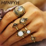 MFNFYH Punk Vintage Resin Stone Knuckle Ring Set Boho <b>Antique</b> Gold Geometric Midi Rings for Women Accessories Bohemian <b>Jewelry</b>