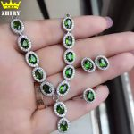 100% Natural Diopside jewelry set Genuine solid 925 sterling <b>silver</b> Green gem Stone sets ring <b>earring</b> bracelet pendant necklace