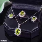 KJJEAXCMY boutique jewels 925 Pure <b>silver</b> inlay natural olivine stone <b>earrings</b> ring pendant jewelry 3 sets