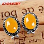 KJJEAXCMY 925Thai <b>silver</b> green chalcedony Agate <b>Earrings</b> ear ear retro elegant women folk style