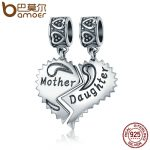 BAMOER 100% 925 Sterling Silver Mother and Daughter Love Forever Pendant Charms fit Bracelets Necklace <b>Jewelry</b> <b>Making</b> SCC427