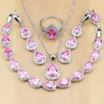 925 Sterling <b>Silver</b> Bridal Jewelry Pink Cubic Zirconia Jewelry Sets Women Wedding Long Earrings/Pendant/Necklace/Ring/<b>Bracelet</b>