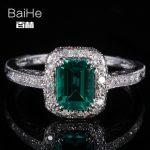 BAIHE <b>Sterling</b> <b>Silver</b> 925 0.81ct Certified Flawless Emerald CUT Treated Emerald Engagement Women Trendy Fine <b>Jewelry</b> unique Ring