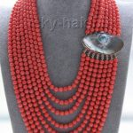 Hot sale Free Shipping>>>>>AAA 16″-23″ 8row 6mm round pink coral beads <b>necklace</b> 925s mabe pearl clasp
