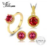 JewelryPalace New Created Ruby Solitaire Ring Stud Earrings Pendant Necklace <b>Jewelry</b> Sets 925 <b>Sterling</b> <b>Silver</b> Gold Plated