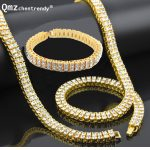 "Men Hip Hop Gold <b>Silver</b> Bling 2 Two Rows Rhinestone Pharaoh CZ Jewelry Sets Miami Cuban Chain 30″ CZ Necklace 8"" <b>Bracelet</b> Set"