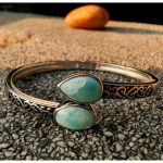 DJ CH Real Larimar Bangle 100% 925 Sterling <b>Silver</b> Bangle Valentine's Day Present Bohemian Style Ocean Feeling Jewelry for Women