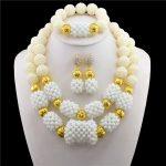Nigeria Star Fashion Nigerian Wedding African Beads <b>Jewelry</b> set White Crystal <b>Necklace</b> Bracelet Earrings <b>Jewelry</b> Set CPS-272
