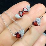 wholesale new fashion trendy heart shape 925 sterling <b>silver</b> red garnet natural gemstone dubai jewelry sets for women