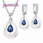 Jemmin Water Drop White Opal 925 Sterling <b>Silver</b> Bridal Jewelry Sets with Blue CZ Stone For Women Necklace Pendant Drop <b>Earrings</b>