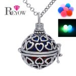 Noctilucence Glow Beads <b>Antique</b> Silver Hollow Heart Locket Necklace Aromatherapy Essential Oil Fragrance Diffuser <b>Jewelry</b>