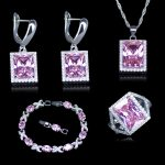 L&B Best Wedding Jewelry For Love Princess Pink Zirconia 925 Stamp <b>Silver</b> Color Jewelry Sets For Women <b>Bracelet</b> Rings Earring