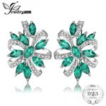 JewelryPalace Unique Design 2.1ct Green Created Emerald Clip On <b>Earrings</b> 925 Sterling <b>Silver</b> Fine Jewelry For Women
