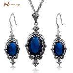 Romantic Jewelry 925 Sterling <b>Silver</b> Sets Created Sapphire Stone Vintage Wedding Accessories Party Pendant <b>Earring</b> Body Jewelry
