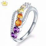 Hutang Natural Gradation Color Gemstone Citrine Amethyst Topaz 925 Sterling <b>Silver</b> Flower Ring For Women Fine <b>Jewelry</b> Gift New