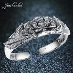JIASHUNTAI Retro 990 <b>Sterling</b> <b>Silver</b> Lotus Bangles For Women <b>Jewelry</b> Female Best Gift