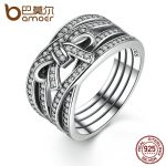 BAMOER New Classic 925 Sterling Silver Big Bow Knot DELICATE SENTIMENTS RING Finger Ring For Women Wedding Fine <b>Jewelry</b> PA7189