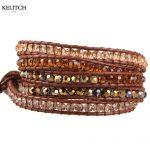 KELITCH <b>Jewelry</b> European And American Style Multilayers Leather Chain Bright AB Crystal Beaded <b>Handmade</b> Women Bracelet Top Packs
