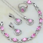 Egg Shaped Pink Cubic Zirconia White CZ 925 <b>Silver</b> Jewelry Sets For Women Wedding Earring/Pendant/Necklace/<b>Bracelet</b>/Ring 4PCS