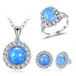 CC Sets <b>Jewelry</b> For Women 3PCS Opal with Cubic Zirconia Necklace Pendants & Ring & Stud Earrings Set Jewelen <b>Accessories</b> CCAS175