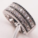 Black Crystal Zircon White Crystal Zircon 925 Sterling Silver Woman Ring Size 5 6 7 8 9 10 11 12 F586 Wholesale <b>Jewelry</b>