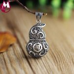 Real 990 Sterling <b>Silver</b> <b>Necklace</b> Pendant For Women Hollow Gourd Punk Twist Lucky Cucurbit Design Handmade Vintage Jewelry Gift