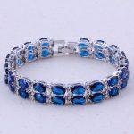 Superb Blue Imitation Crystal Silver Color Charm Bracelets Fashion Trend <b>Jewelry</b> For Women Wedding Party <b>Accessories</b> D0002