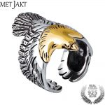 MetJakt Real 925 <b>Sterling</b> <b>Silver</b> Eagle Gold Color Head Open Ring for Men Vintage Steampunk Retro Cool Ring Gift Men <b>Jewelry</b>