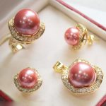 Prett Lovely Women's Wedding 10mm &14mm Hot Pink South sea Shell Pearl Earrings Ring Necklace Pendant Set