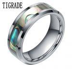 8MM Green Abalone Inlay Tungsten Carbide Ring Women Polished Finish Beveled Wedding Band Engagement Men <b>Fashion</b> <b>Jewelry</b>