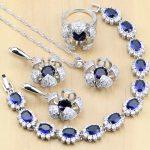 Flower Shaped 925 Sterling <b>Silver</b> Bridal Jewelry Sets Blue Zircon White CZ For Women Earrings/Pendant/Ring/<b>Bracelet</b>/Necklace