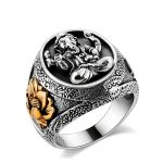 MetJakt Buddha Elephant Lucky Ring with Lotus Solid Authentic 100% 925 <b>Sterling</b> <b>Silver</b> Rings for Unisex Vintage Punk <b>Jewelry</b>