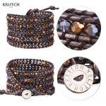 KELITCH bracelets <b>Jewelry</b> Natural AB Crystal Beads Adjustable bracelets <b>Handmade</b> Weave 5 Wrap Charm Bracelet summer bracelets