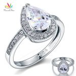Peacock Star 2 Carat Pear Cut Sterling Solid 925 Silver Bridal Wedding Engagement Ring <b>Jewelry</b> CFR8097